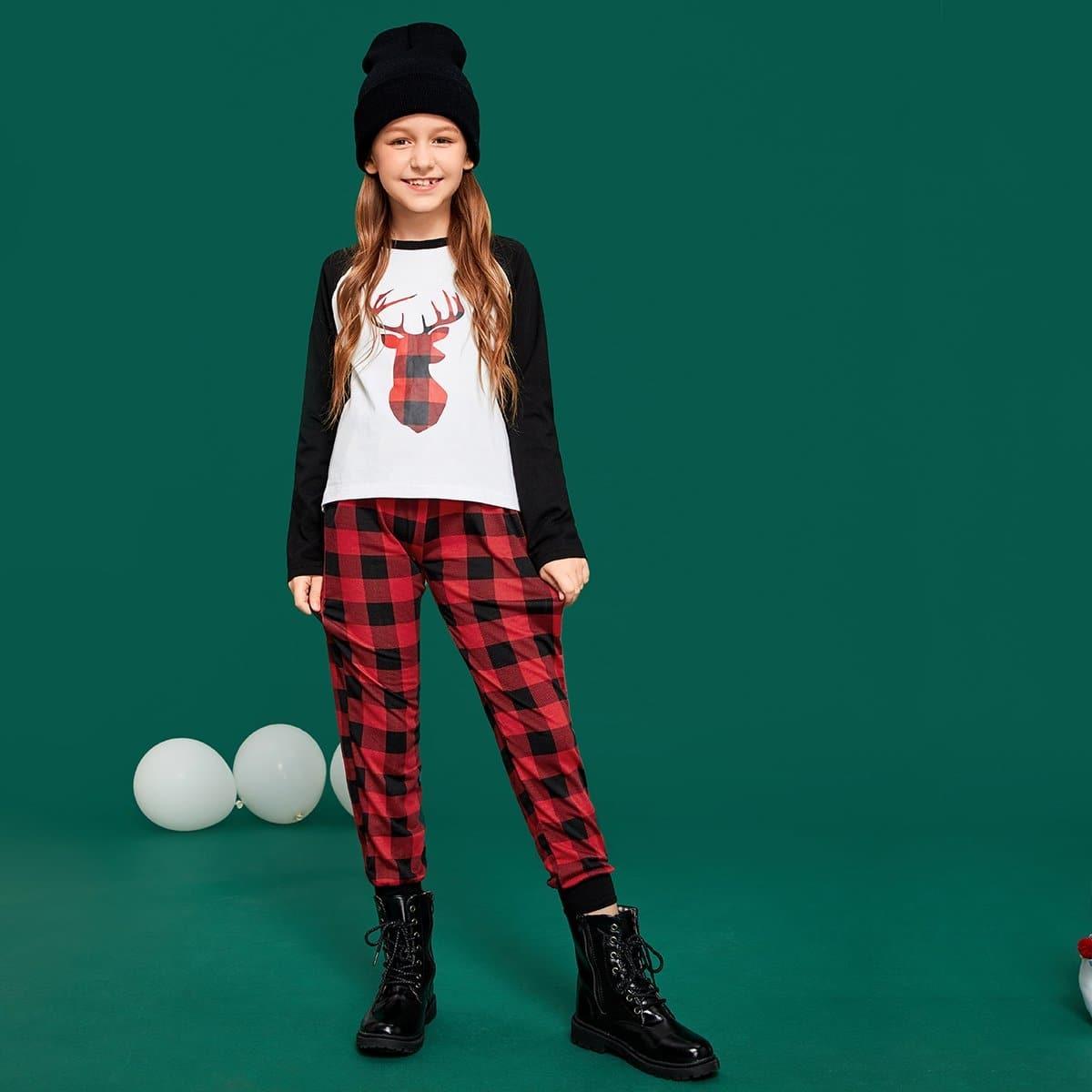 Футболка с рукав-регланами и брюки в клетку для девочек от SHEIN