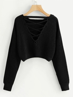 Lace-Up V Back Crop Jumper