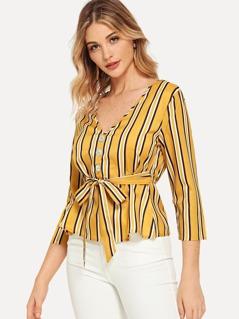 Button Front Belted V-Neck Striped Peplum Top