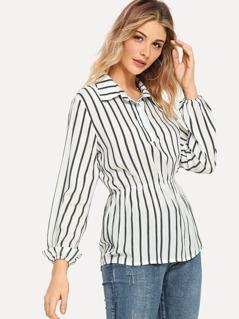 Collar Striped Peplum Top