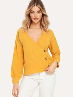 Surplice Neck Button Side Blouse