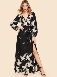 Crane Print Split Wrap Belted Maxi Dress