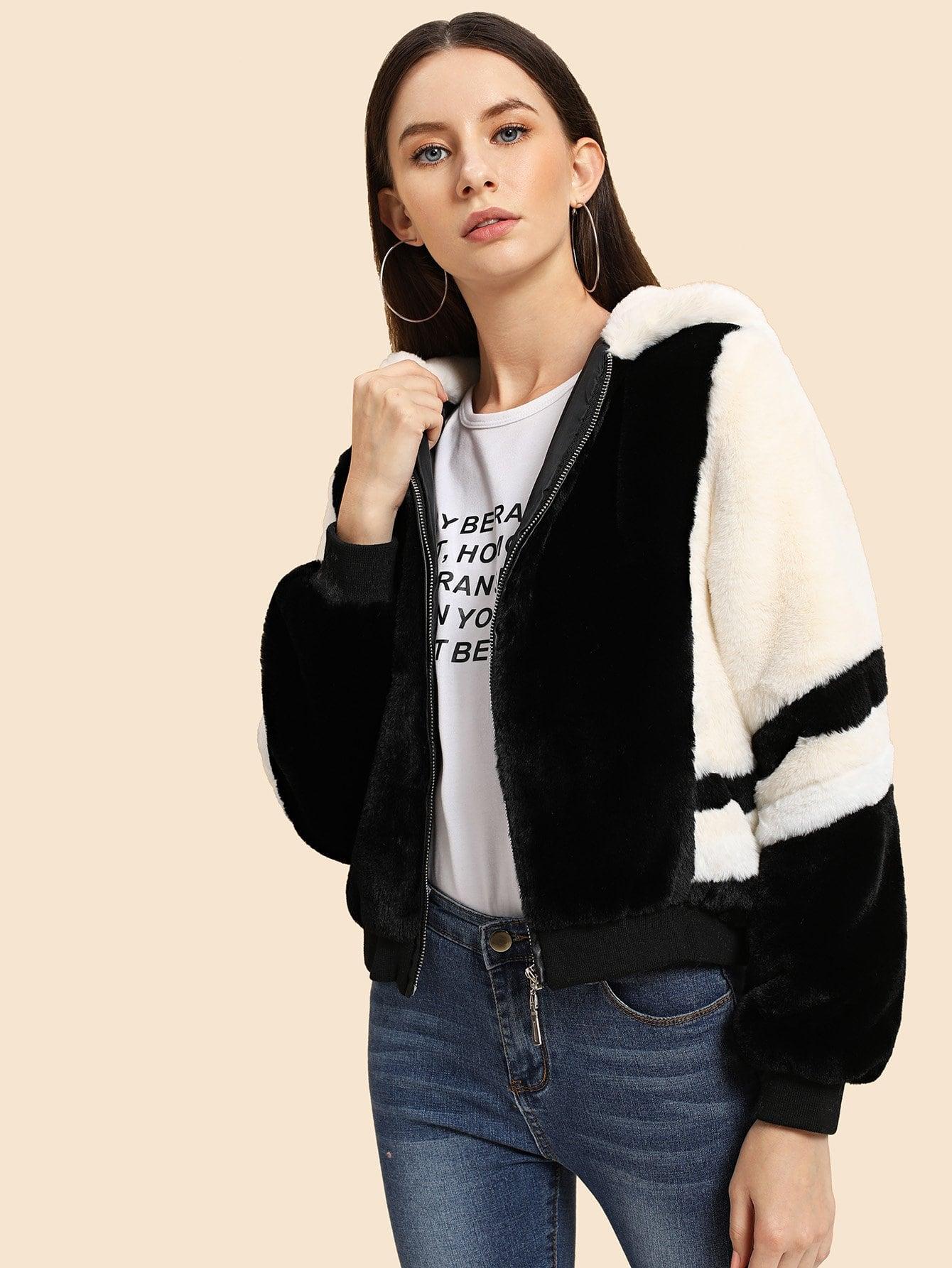Купить Контрастная куртка с капюшоном из искусственного меха, Kate B, SheIn