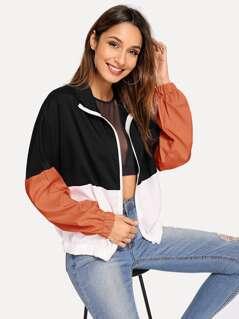 Elastic Hem Color Block Windbreaker Jacket