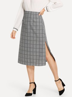 Split Size Plaid Skirt