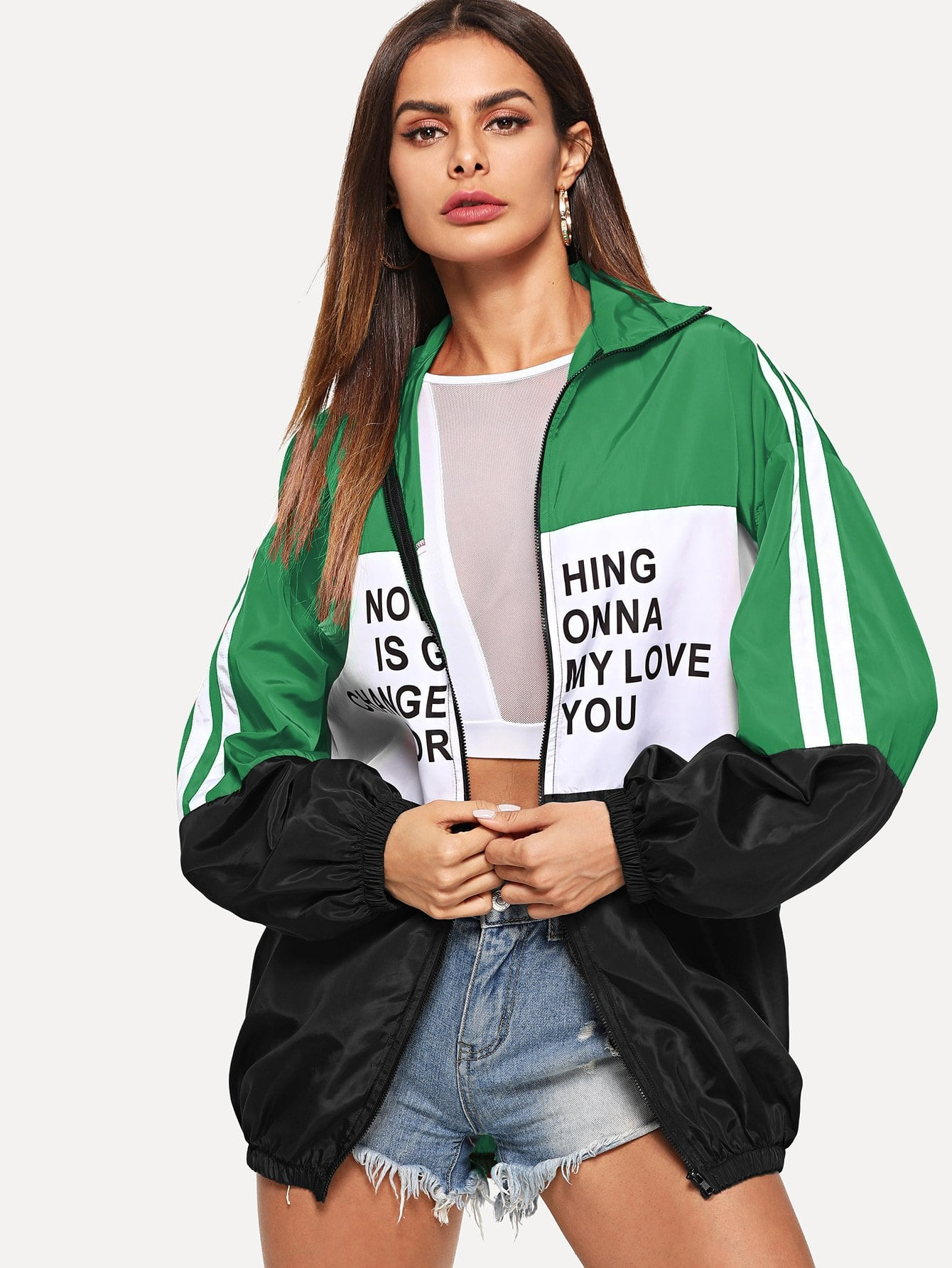 Купить Контрастная куртка на молнии с текстовым принтом, Andy, SheIn