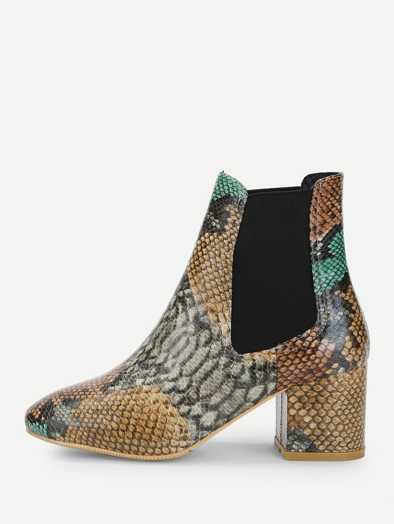 Фото - Сапоги с шнурками и принтом змеиным от SheIn цвет красочный