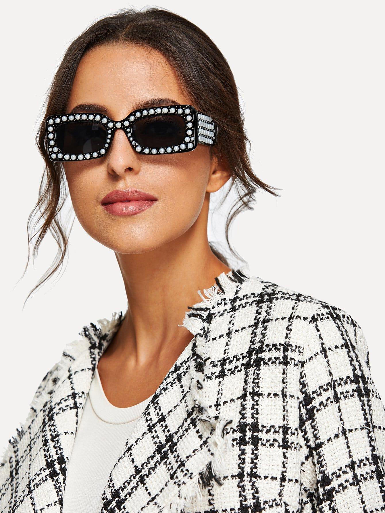 Купить Солнцезащитные очки с украшением искусственных жемчугов, null, SheIn