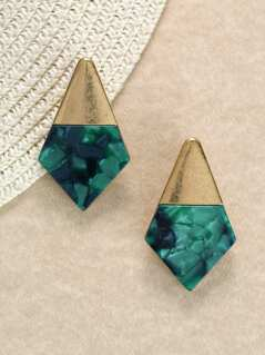 Gold And Stone Detail Diamond Shaped Earrings