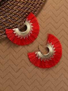 Gold Hoop Sunburst With Fringe Detail Earrings