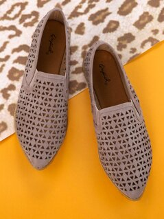 Laser Cut Out Detail Slip On Flat Penny Loafers