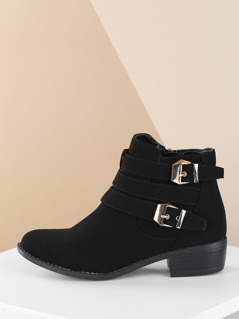 Double Buckle Low Heel Almond Toe Ankle Booties