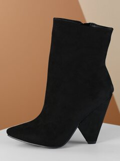 Pointed Toe Cone Heel Faux Fur Lined Ankle Boots