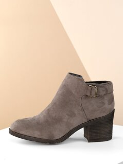 Buckle Detail Side Zip Almond Toe Heeled Booties