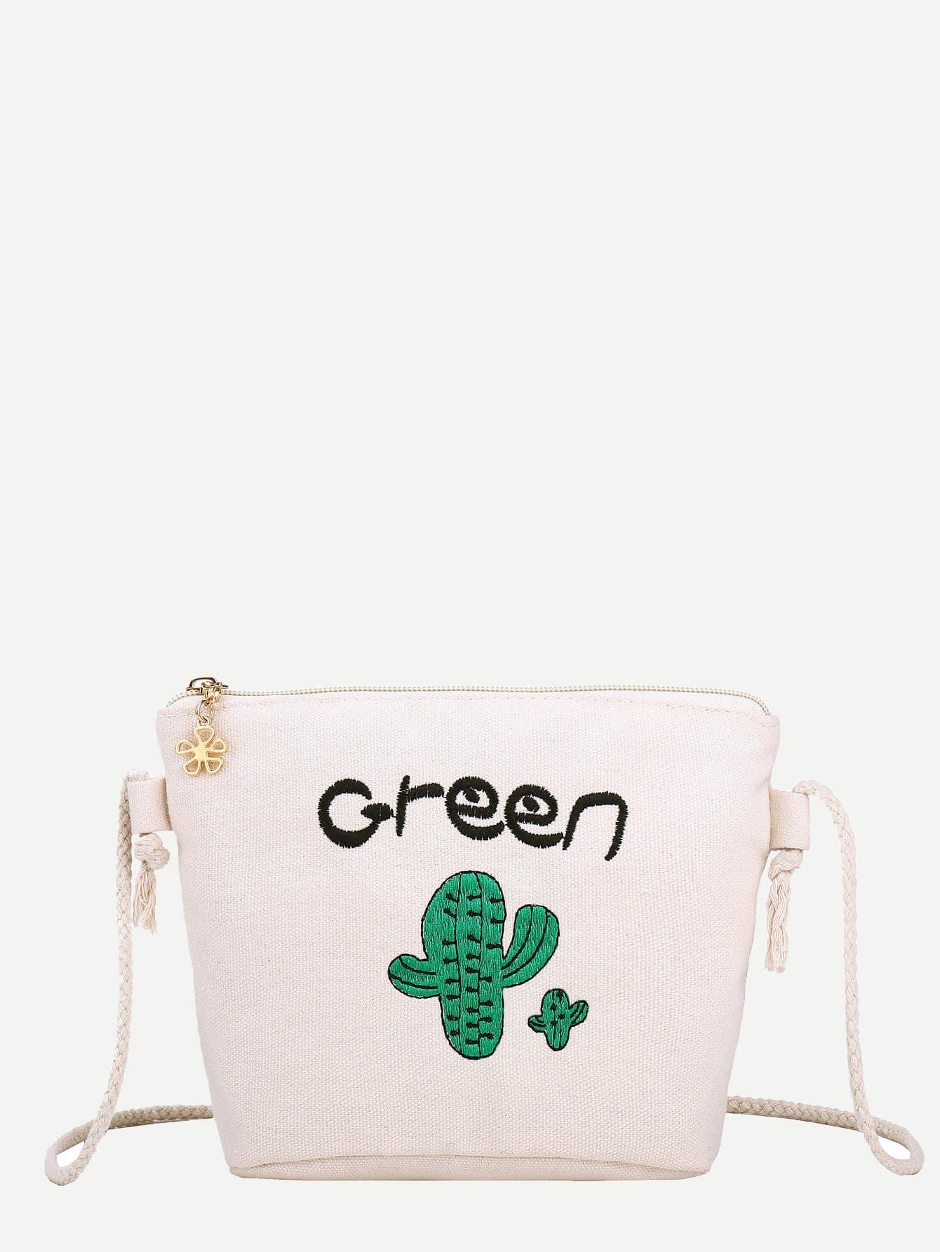 Купить Парусиновая сумка с принтом вышитого кактуса для детей, null, SheIn