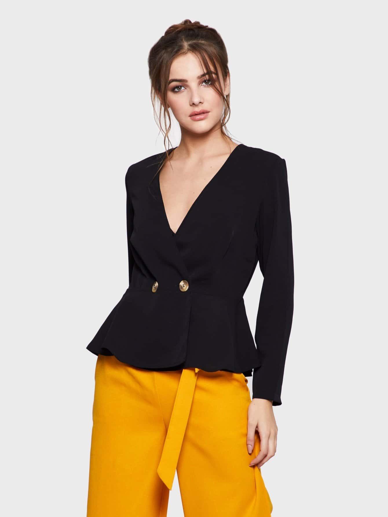 Купить Деловая одежда Ровный цвет на пуговицах Черный Пиджаки, Gracea, SheIn