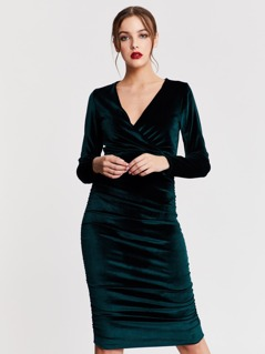 Ruched Side Velvet Long Sleeve Dress