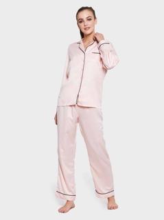 Plus Contrast Tipping Buttoned Blouse & Pants PJ Set