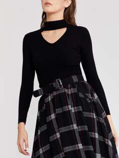 Cutout Neck Rib Jumper