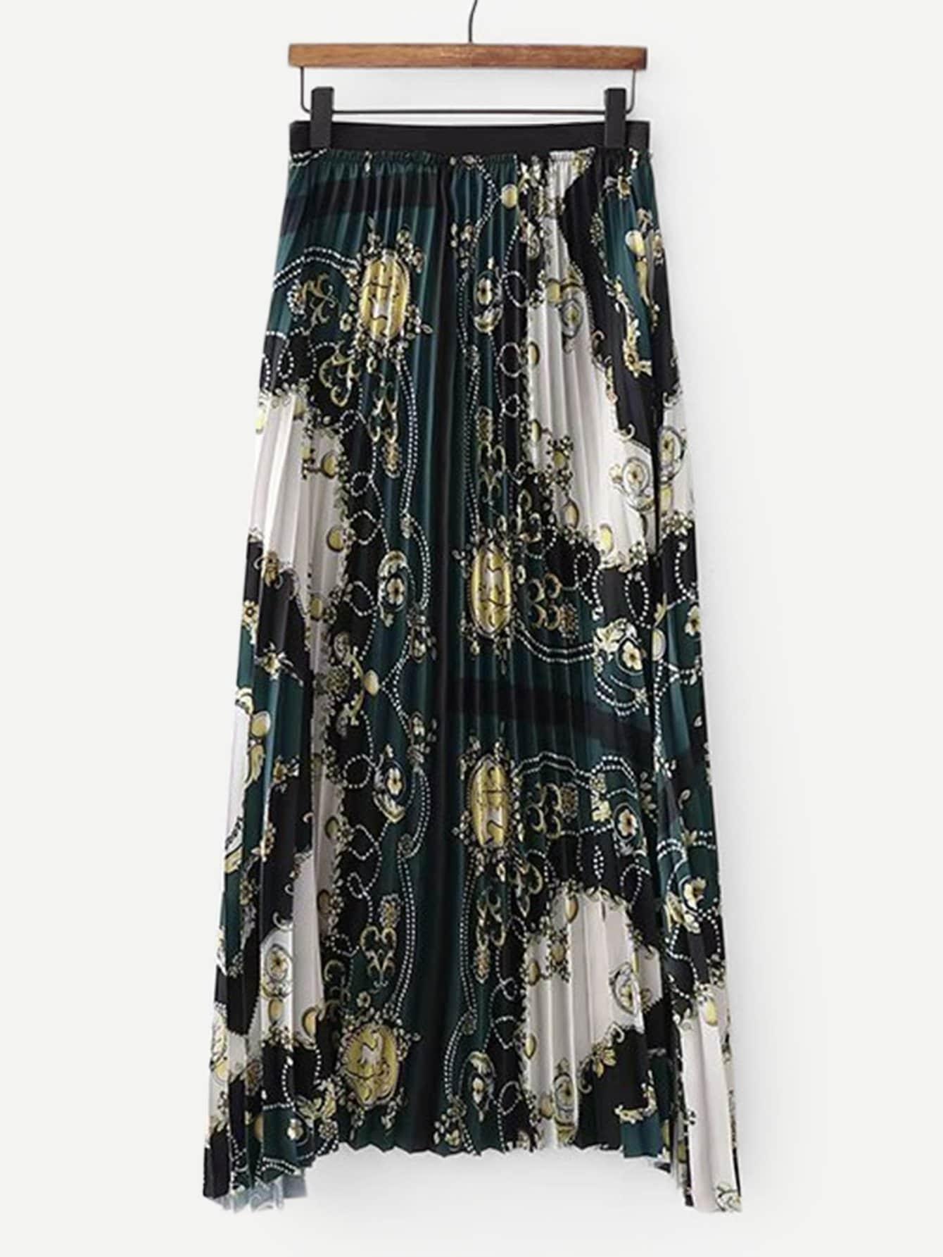 Купить Плиссированная юбка с принтом пейсли, null, SheIn