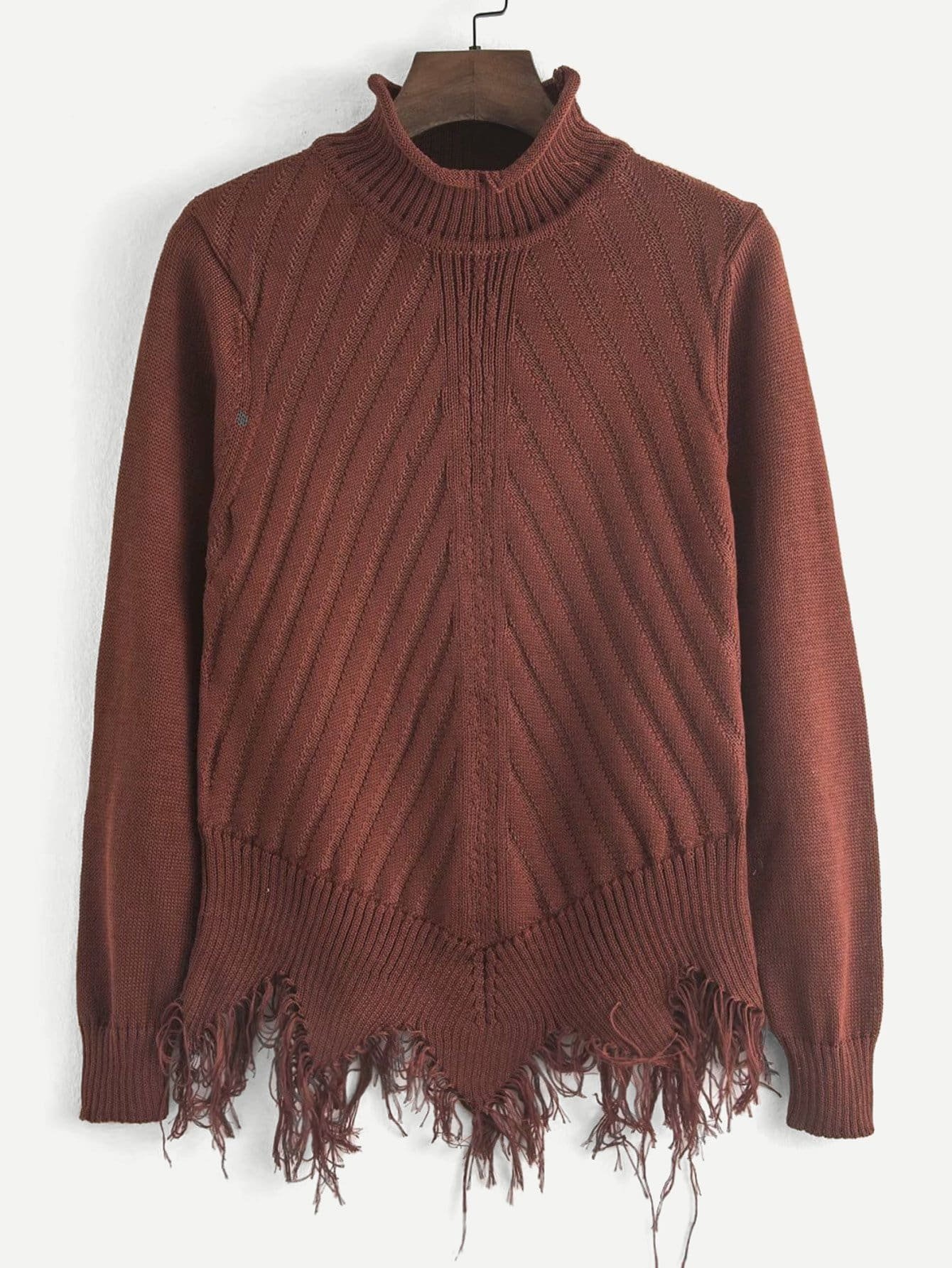 Рваный однотонный свитер SheIn