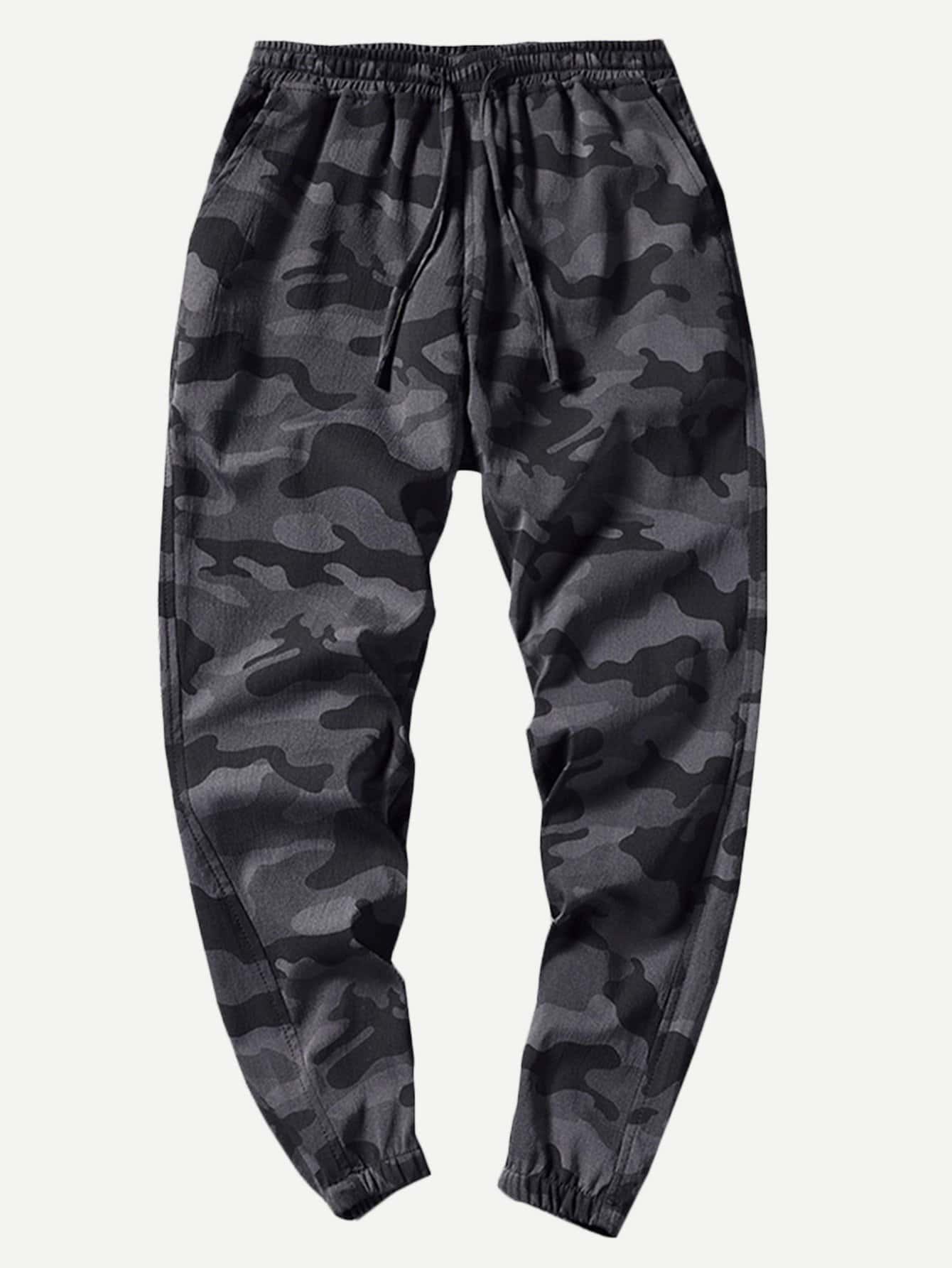 Купить Мужские камуфляжные брюки с принтом текстовым, null, SheIn