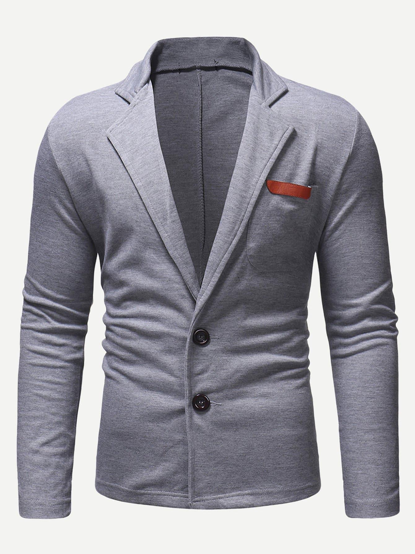 Купить Мужское однотонное пальто с карманами, null, SheIn