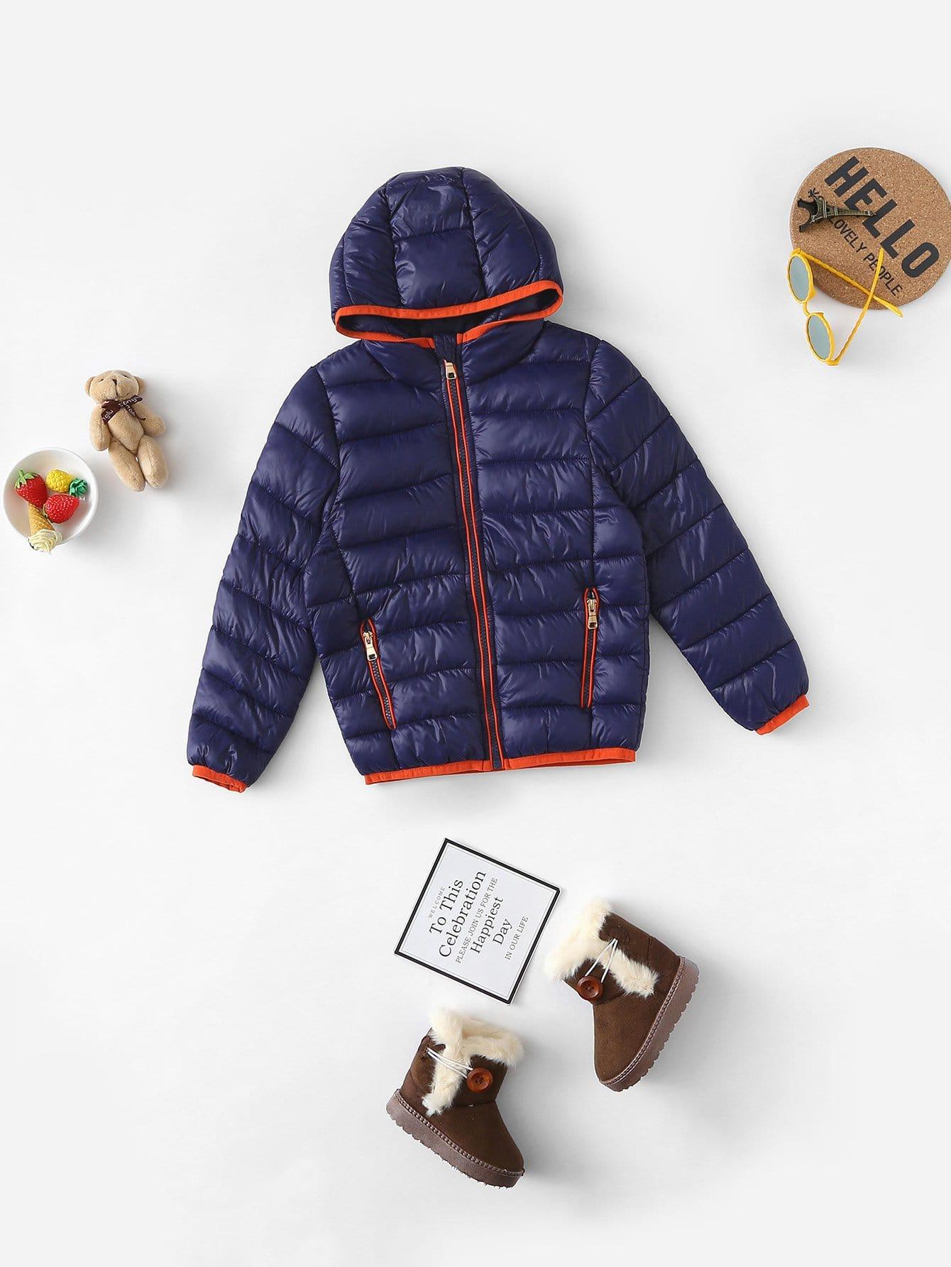 Купить Подбитое пальто с капюшоном для маленьких мальчиков, null, SheIn