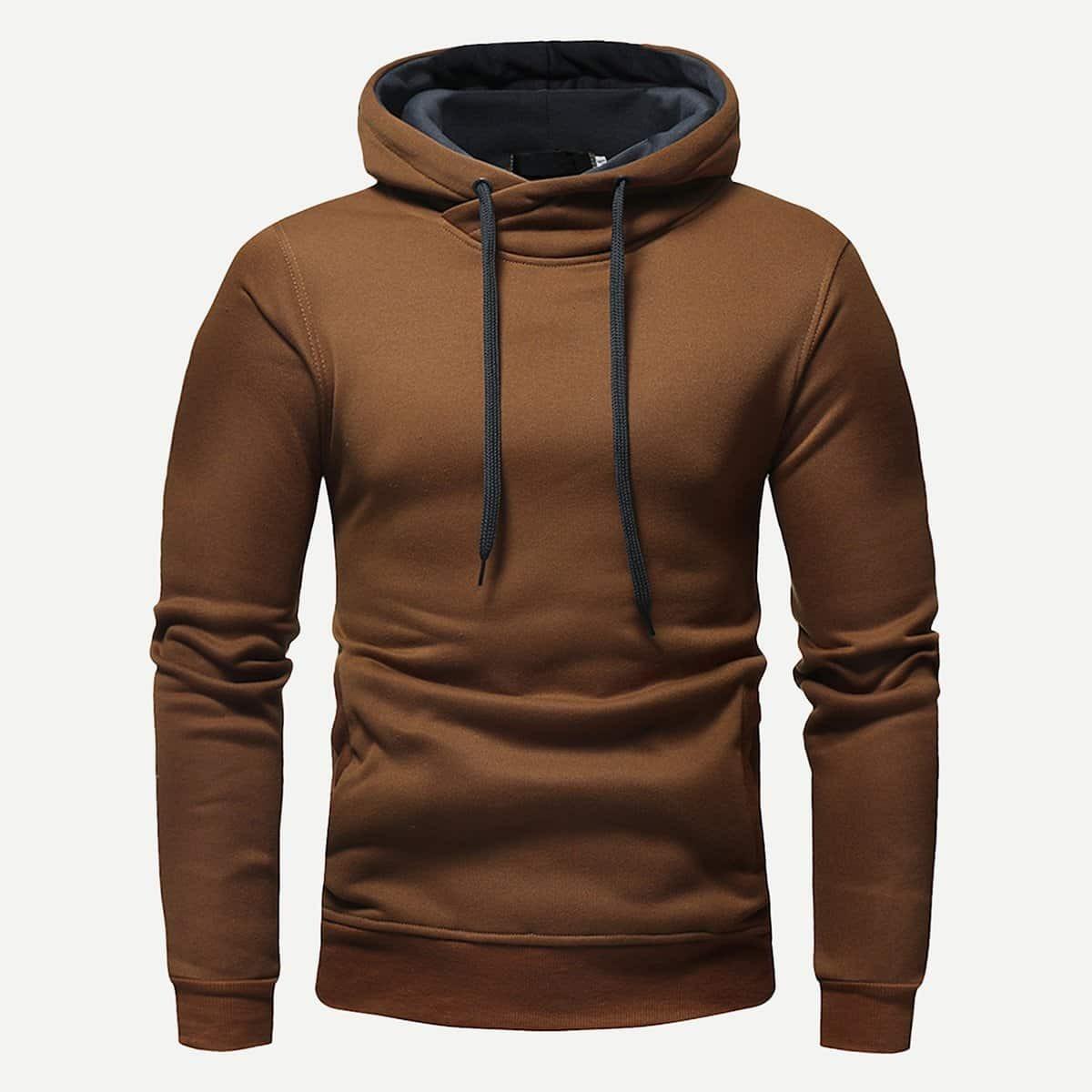 Bruin Casual Koord Vlak Sweatshirts voor heren