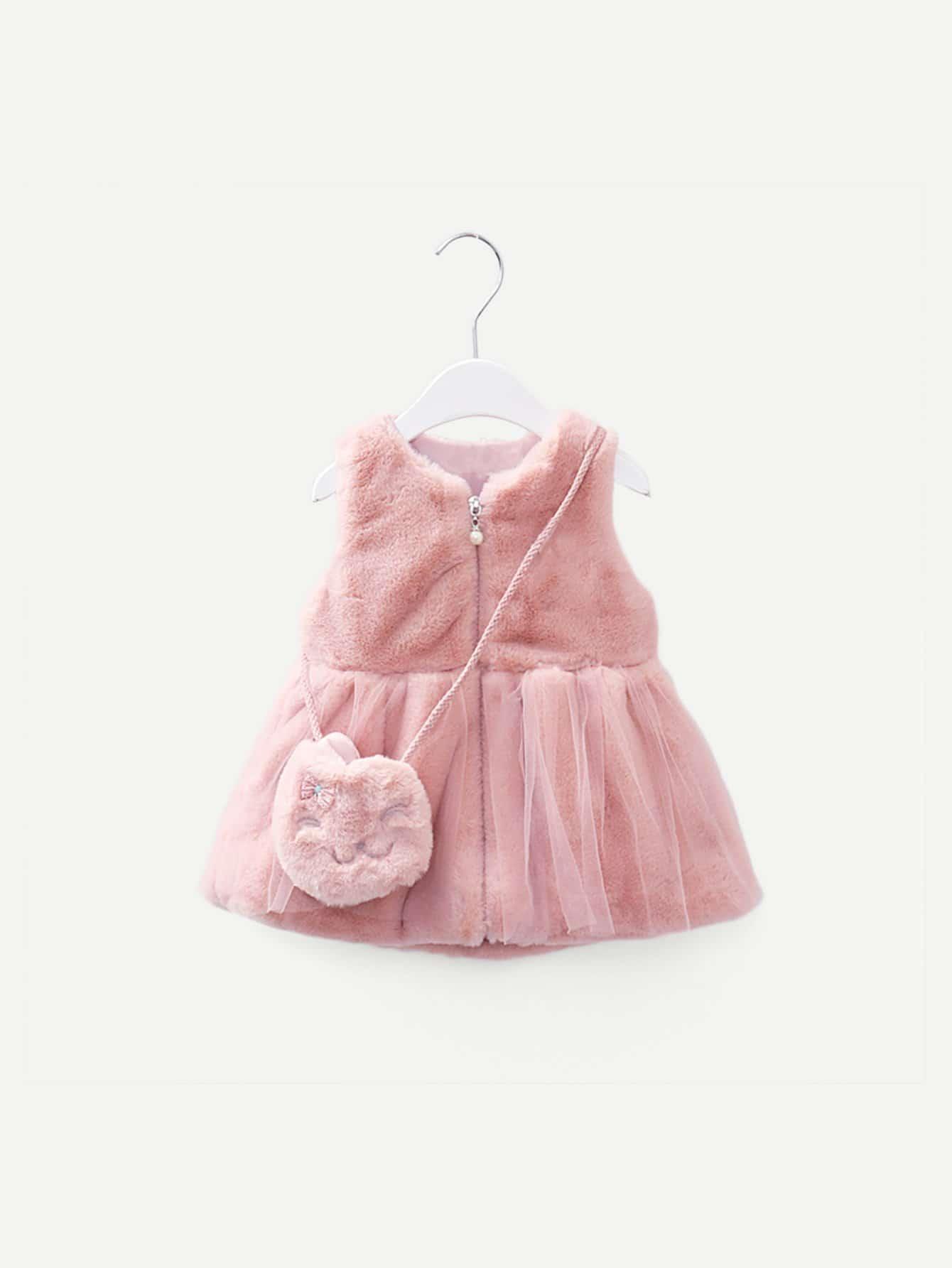 Купить Утеплённый контрастный сетчатый жилет из искусственных мехов и сумка для девочек, null, SheIn