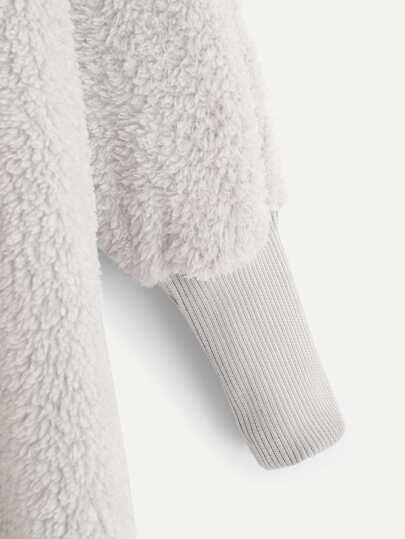 SheIn / Plus Solid Hooded Teddy Coat