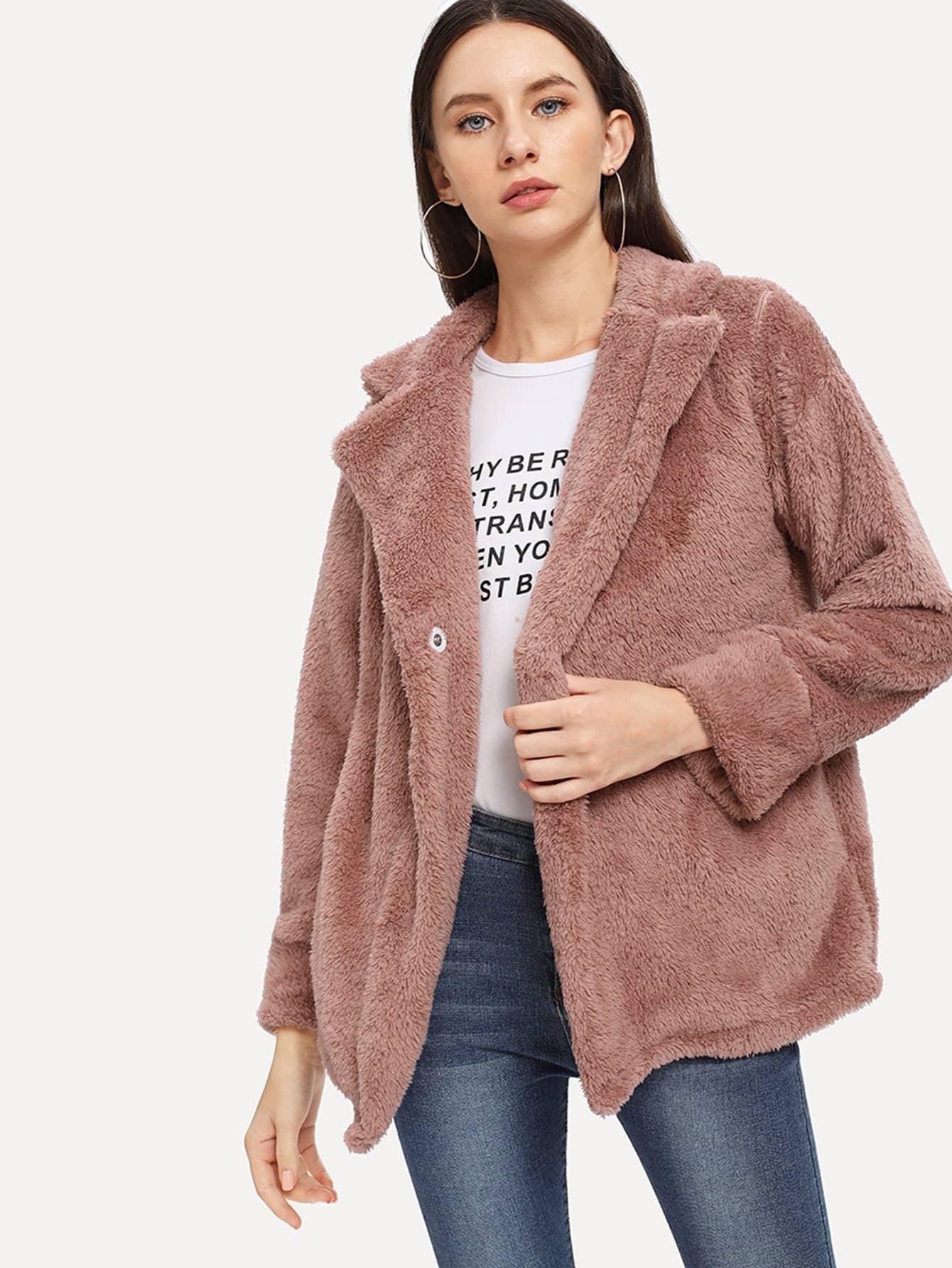 Фото - Однотонное пальто тедди от SheIn розового цвета