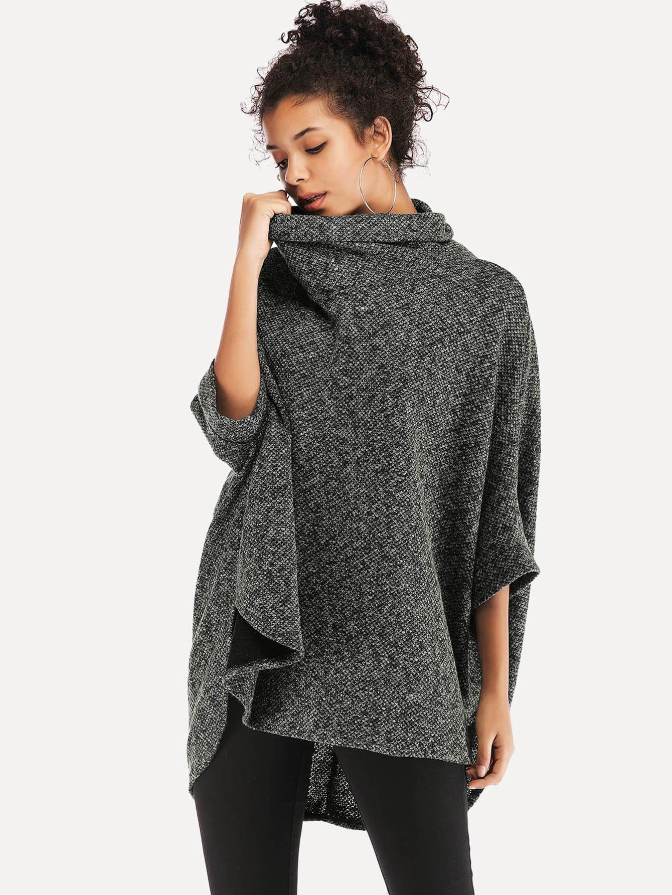 Фото - Асимметричный свитер с высоким воротником и рукав-летучими мышами от SheIn серого цвета