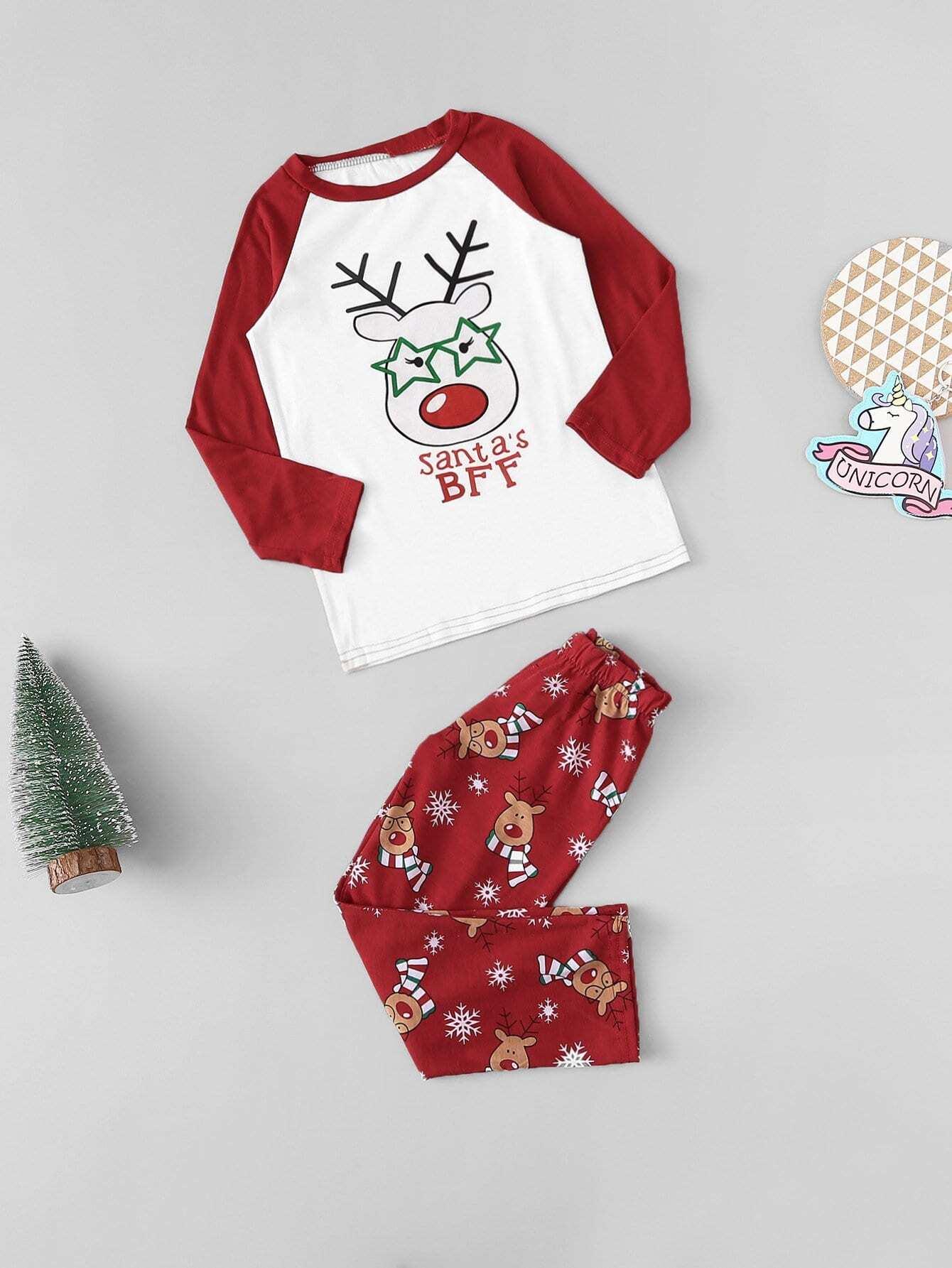 Купить Рождественская пижама с принтом оленя для детей, null, SheIn