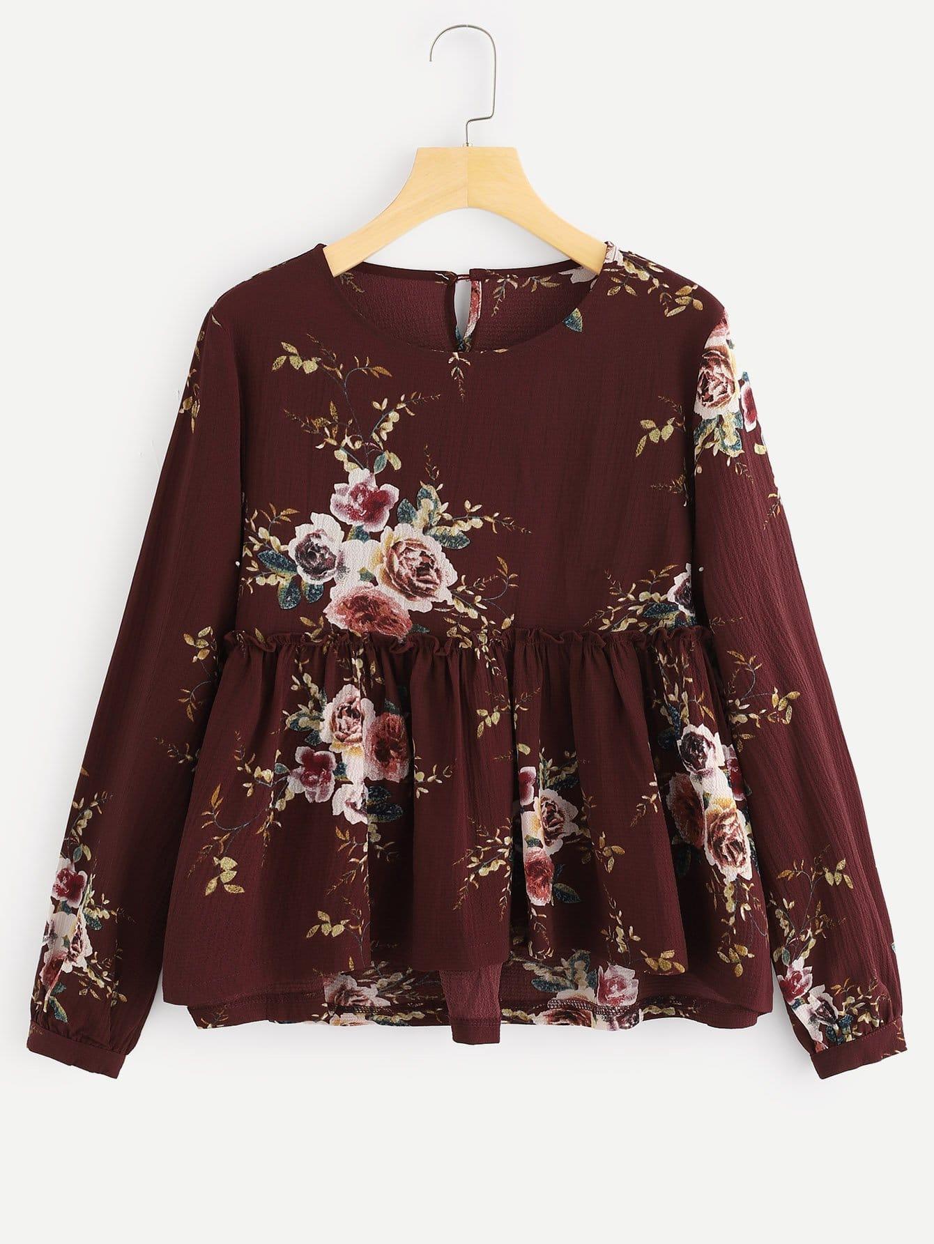 Купить Цветочная блузка с асимметричным низом, null, SheIn