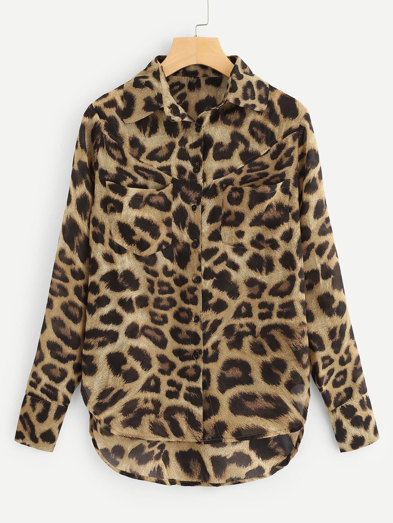 Купить Леопардовая блузка с асимметричным низом, null, SheIn