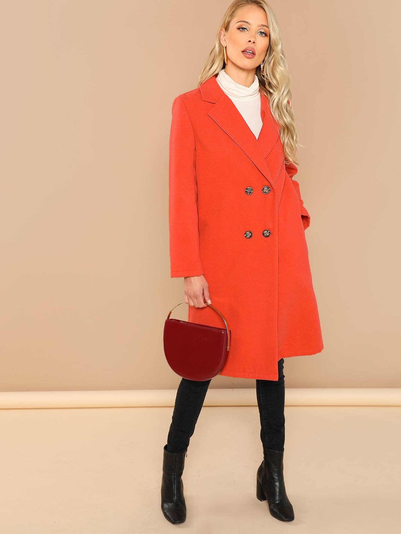 Купить Двубортное пальто с зубчатым вырезом, Allie Leggett, SheIn