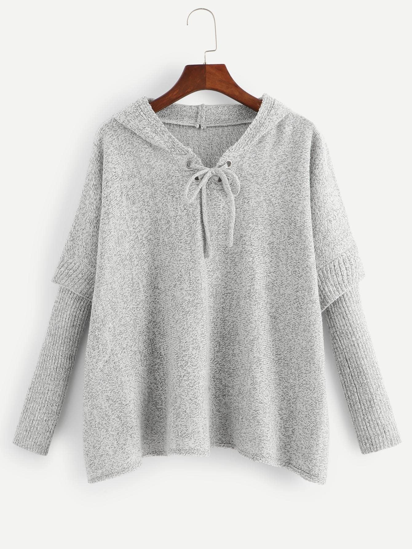 Купить Одноцветный свитер с капюшоном на шнуровке, null, SheIn