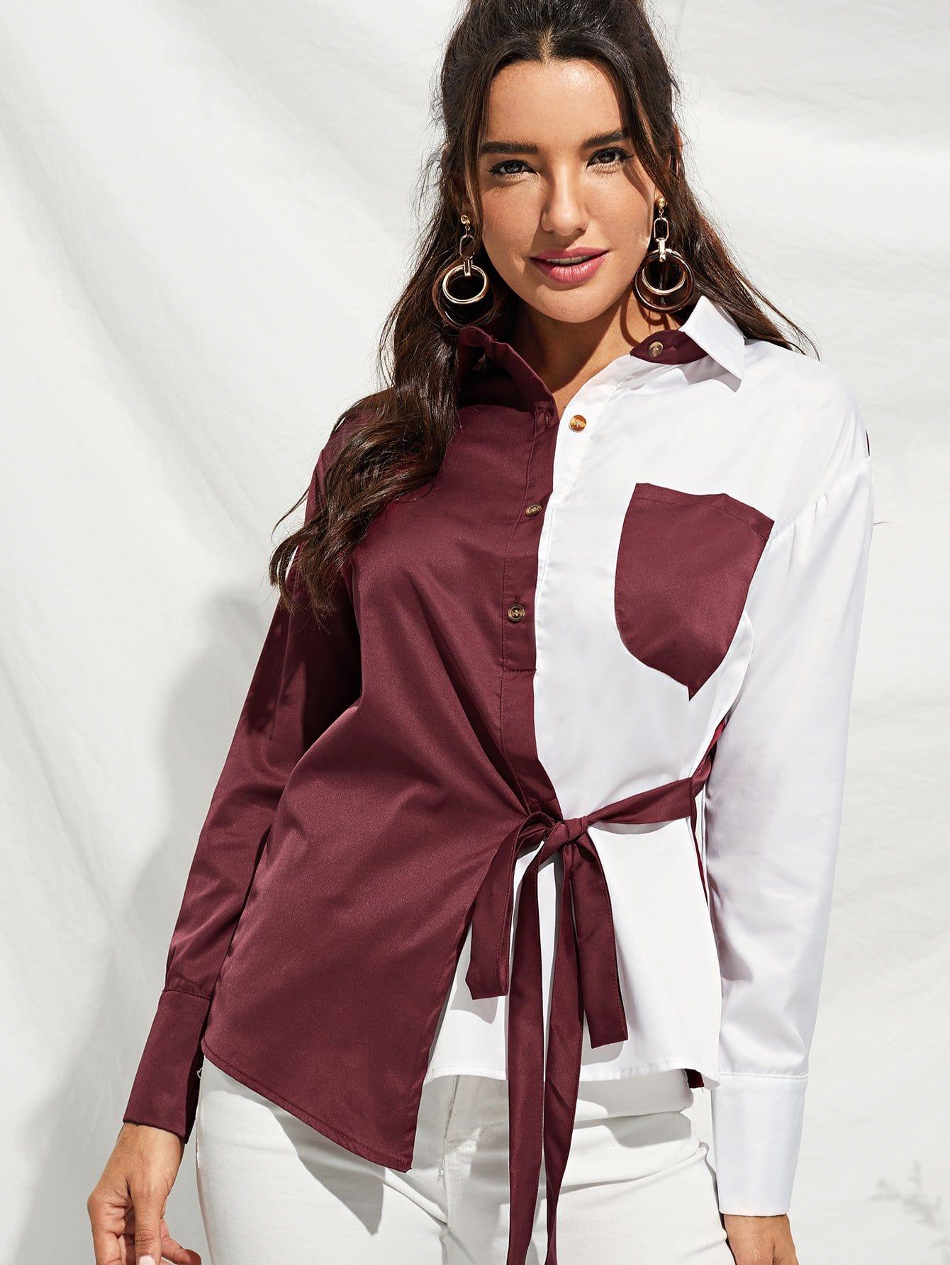 Фото - Асимметричная однобортная блуза с бантом от SheIn бордового цвета