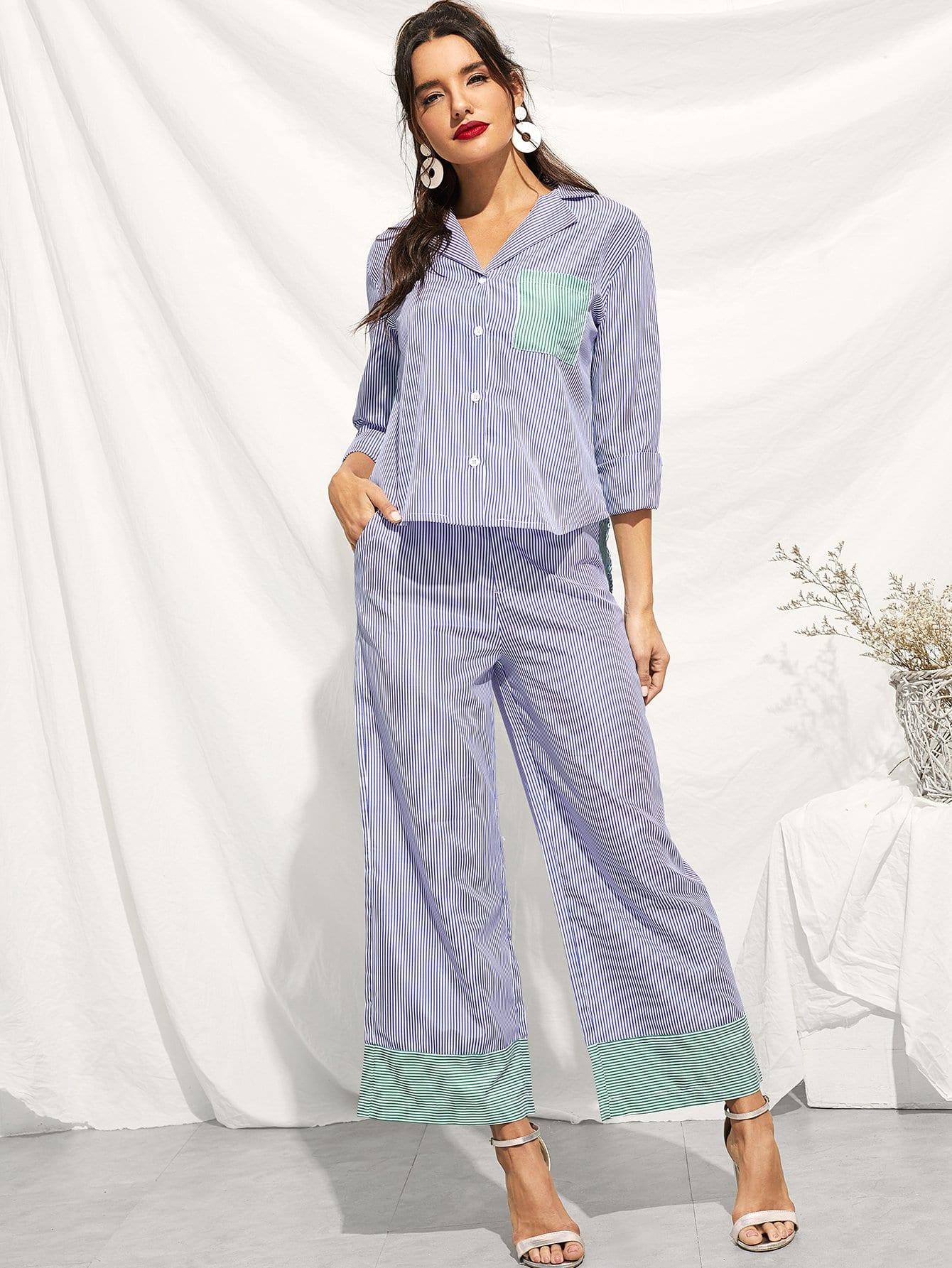 Фото - Полосатая блуза с карманом и полосатые широкие ножные штаны от SheIn синего цвета