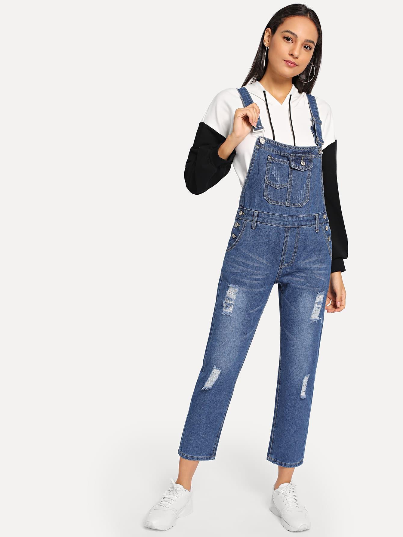 Купить Рваный джинсовый комбинезон с карманом, Kary, SheIn