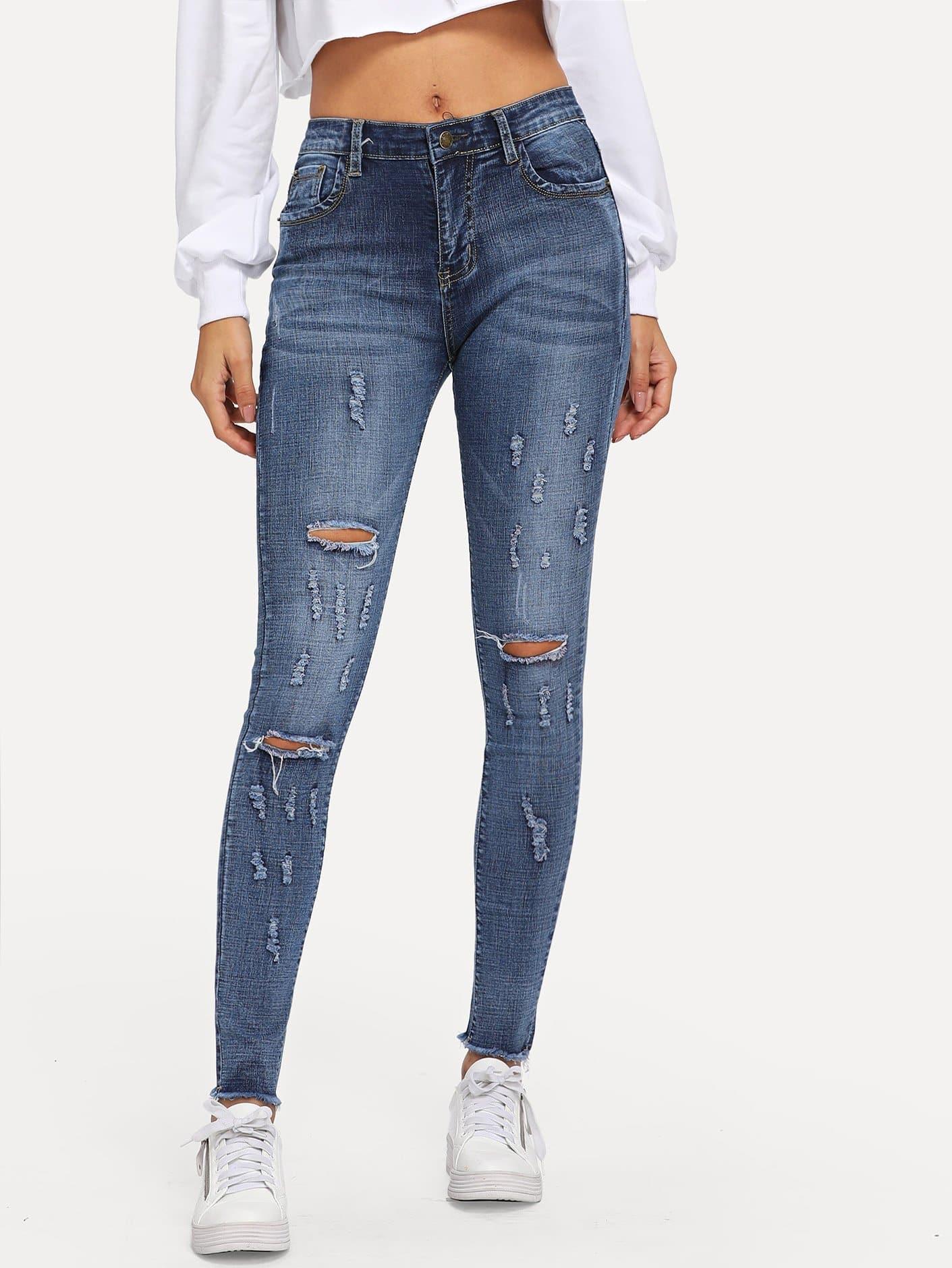 Купить Рваные обтягивающие джинсы с необработанным краем, Gabe, SheIn