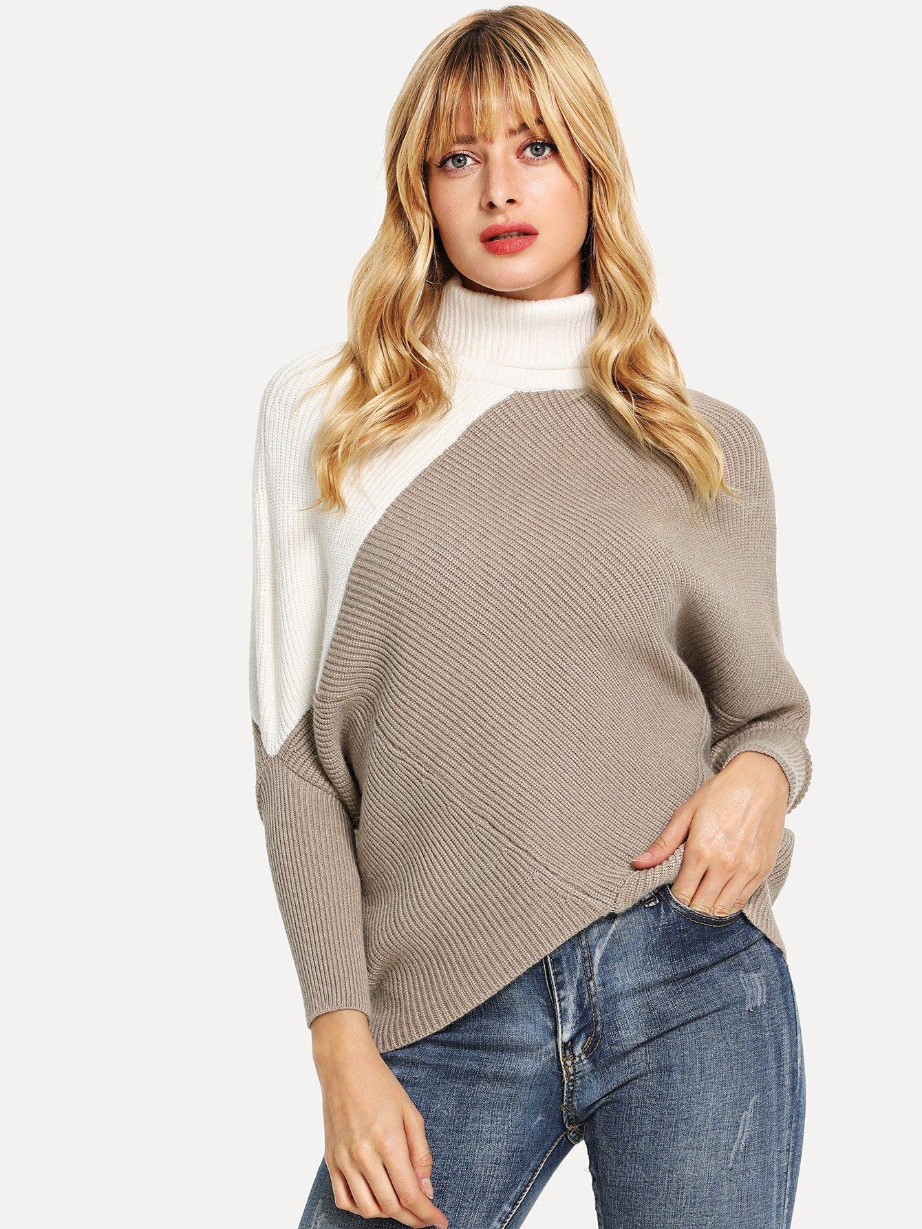 Купить Контрастный свитер с воротним-бантом и рукав-летучими мышами, Masha, SheIn