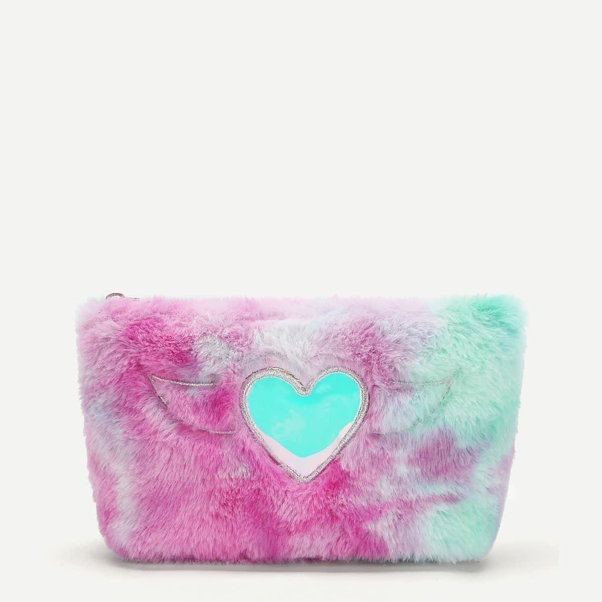 Meisjes hart decor namaakbont tas