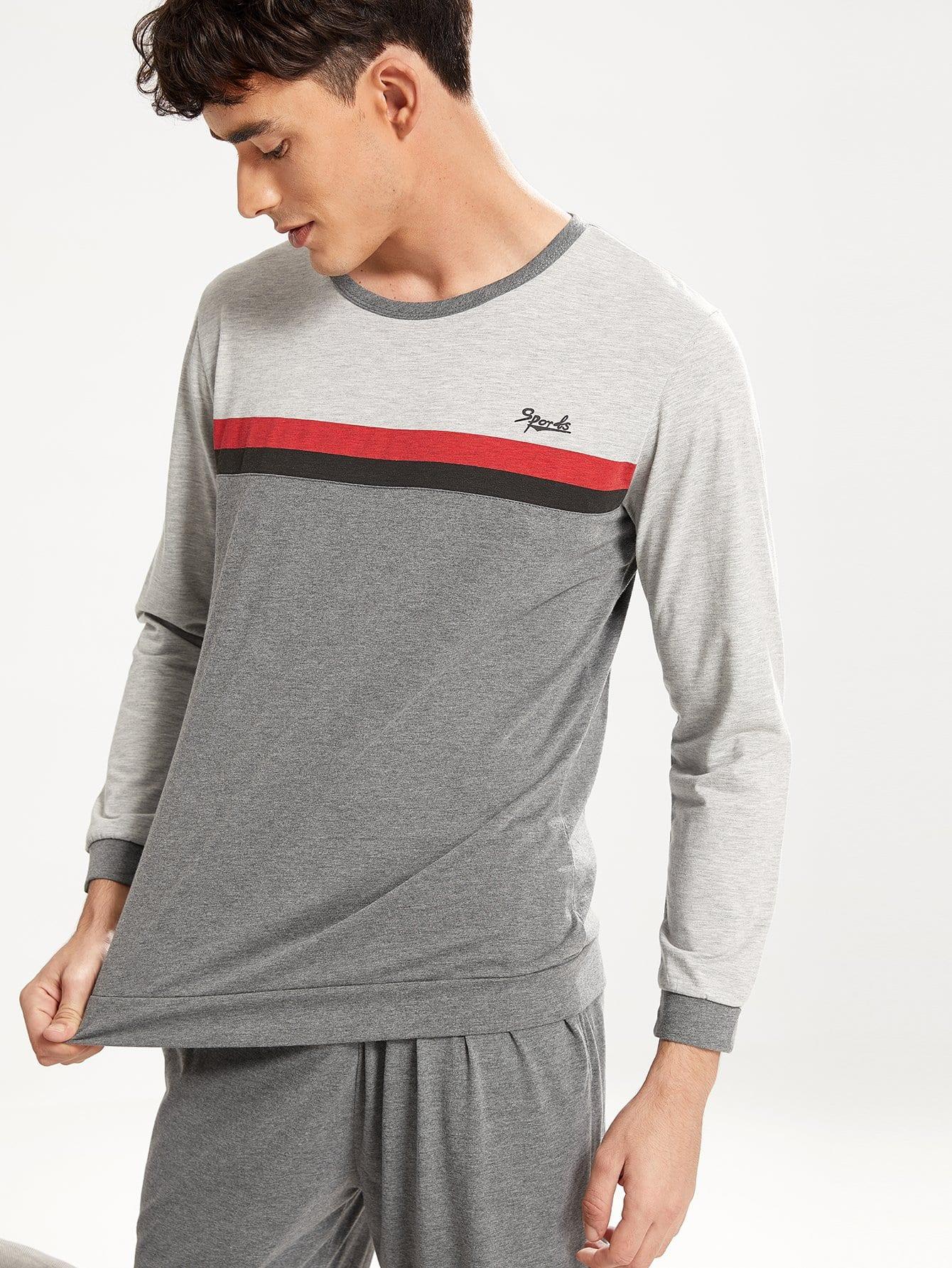 Комплект симметрической полосатой цветной кусковой пижамы для мужчины от SheIn