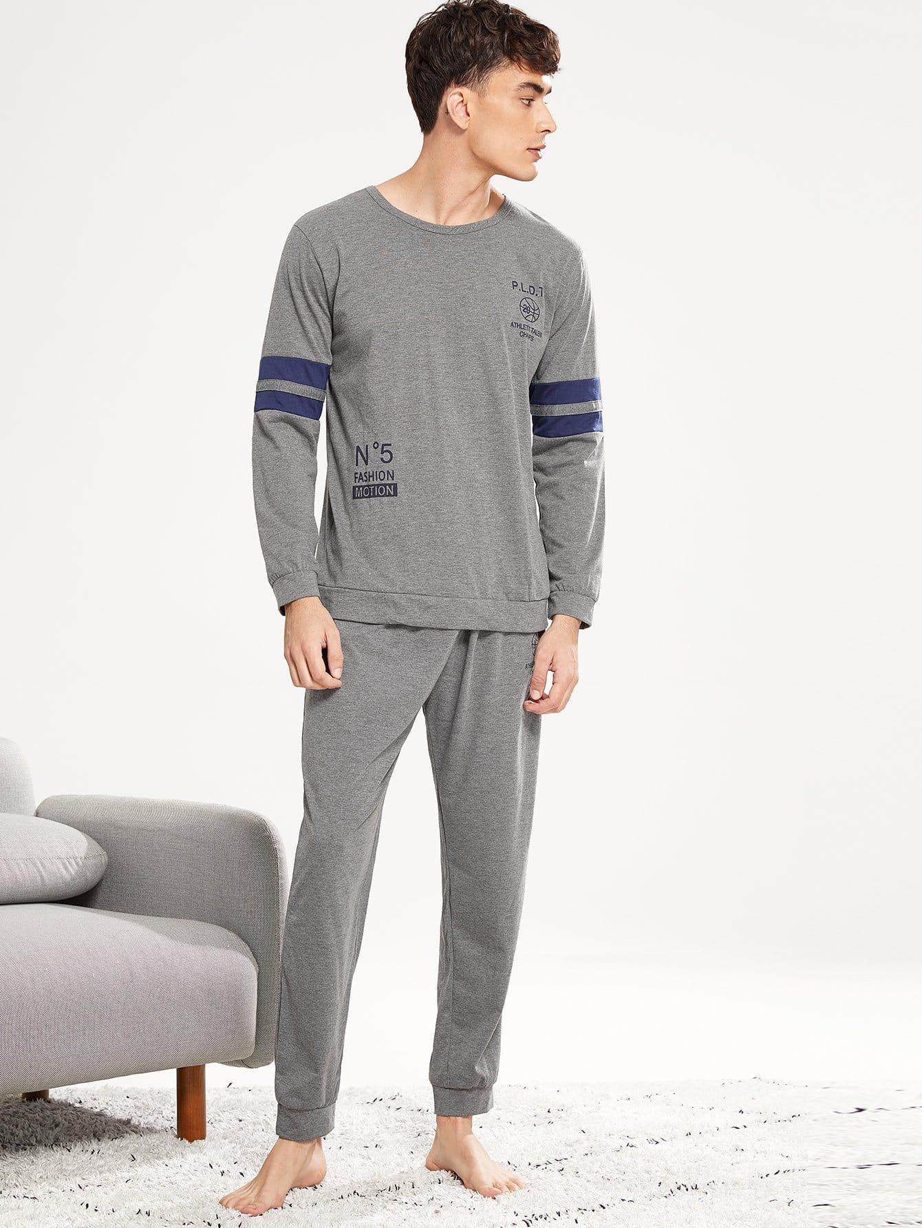 Комплект пижамы с рисунками буквы и со симметрическими полосами для мужчины от SheIn
