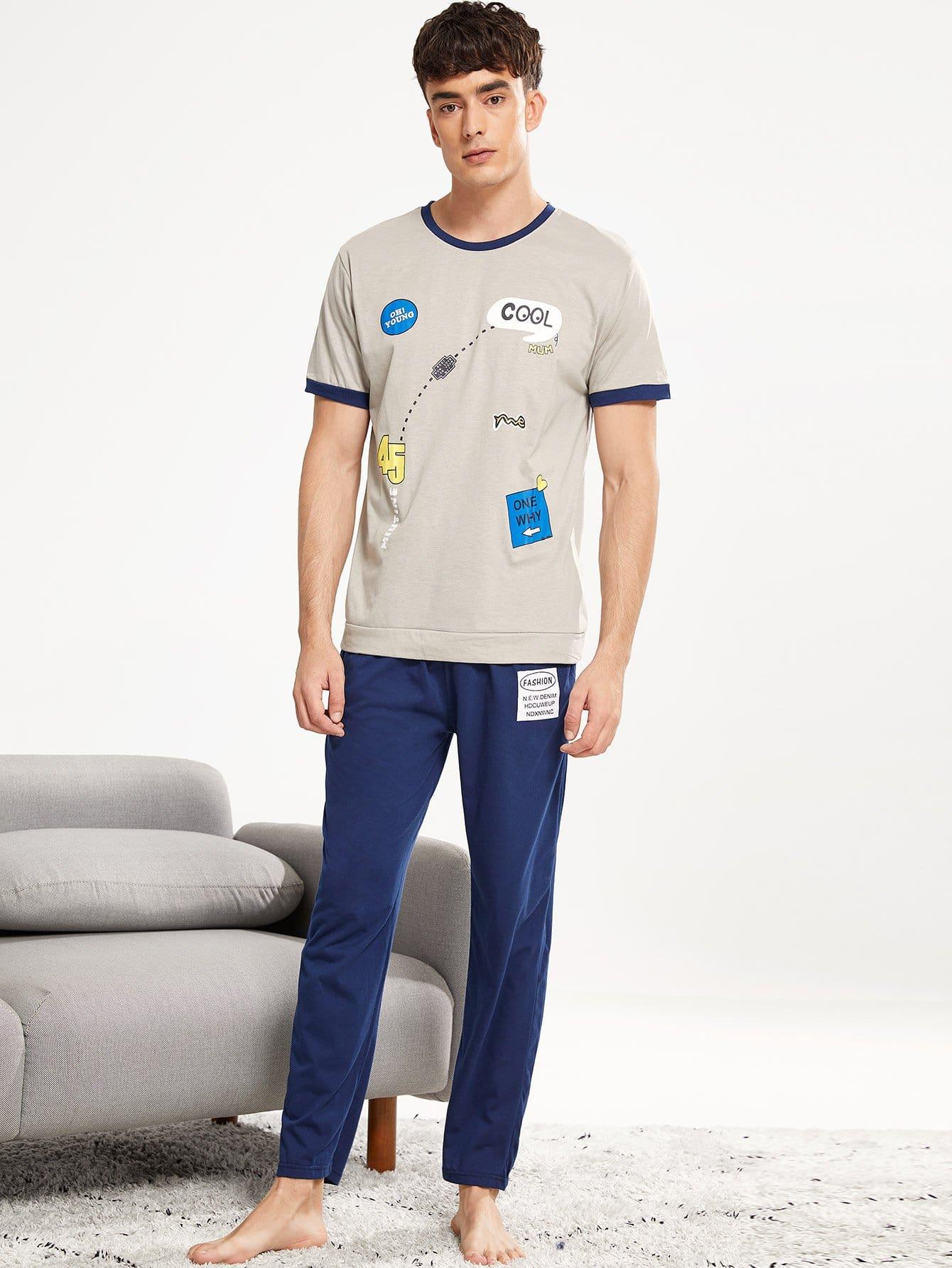 Комплект пижамы с рисунками мультипликаций и буквы для мужчины от SheIn