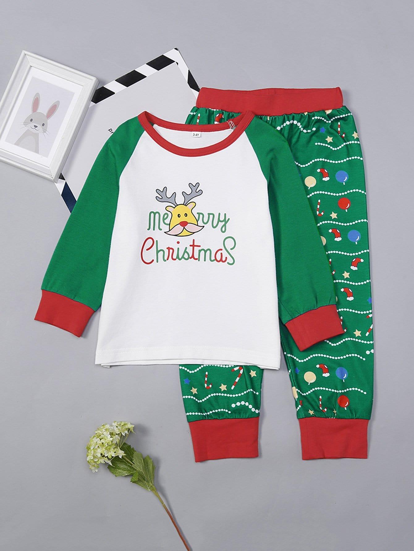 Купить Комплект пижамы с принтом рождественского оленя для детей, null, SheIn