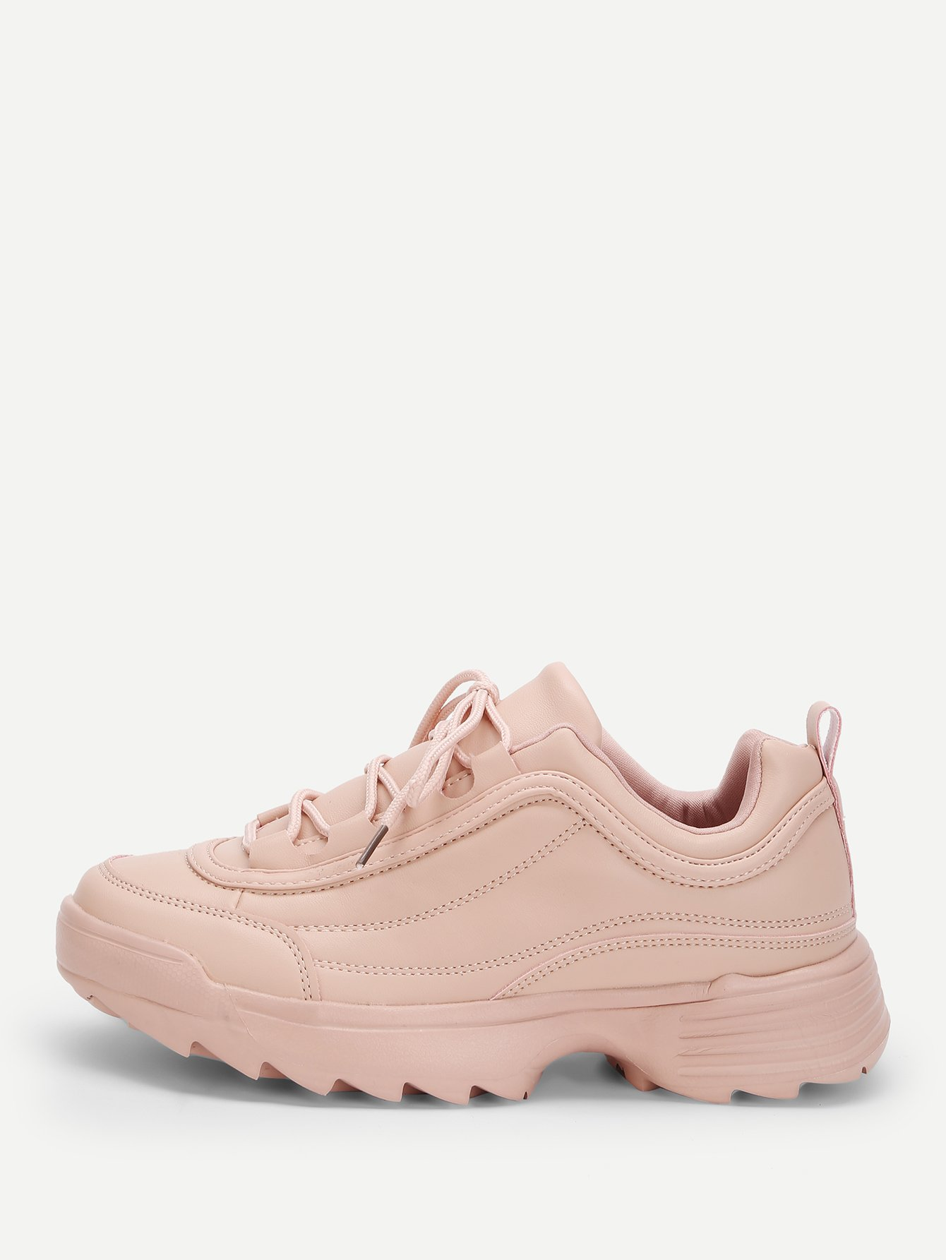 Фото - Кроссовки с шнурками и коренастым носком от SheIn розового цвета