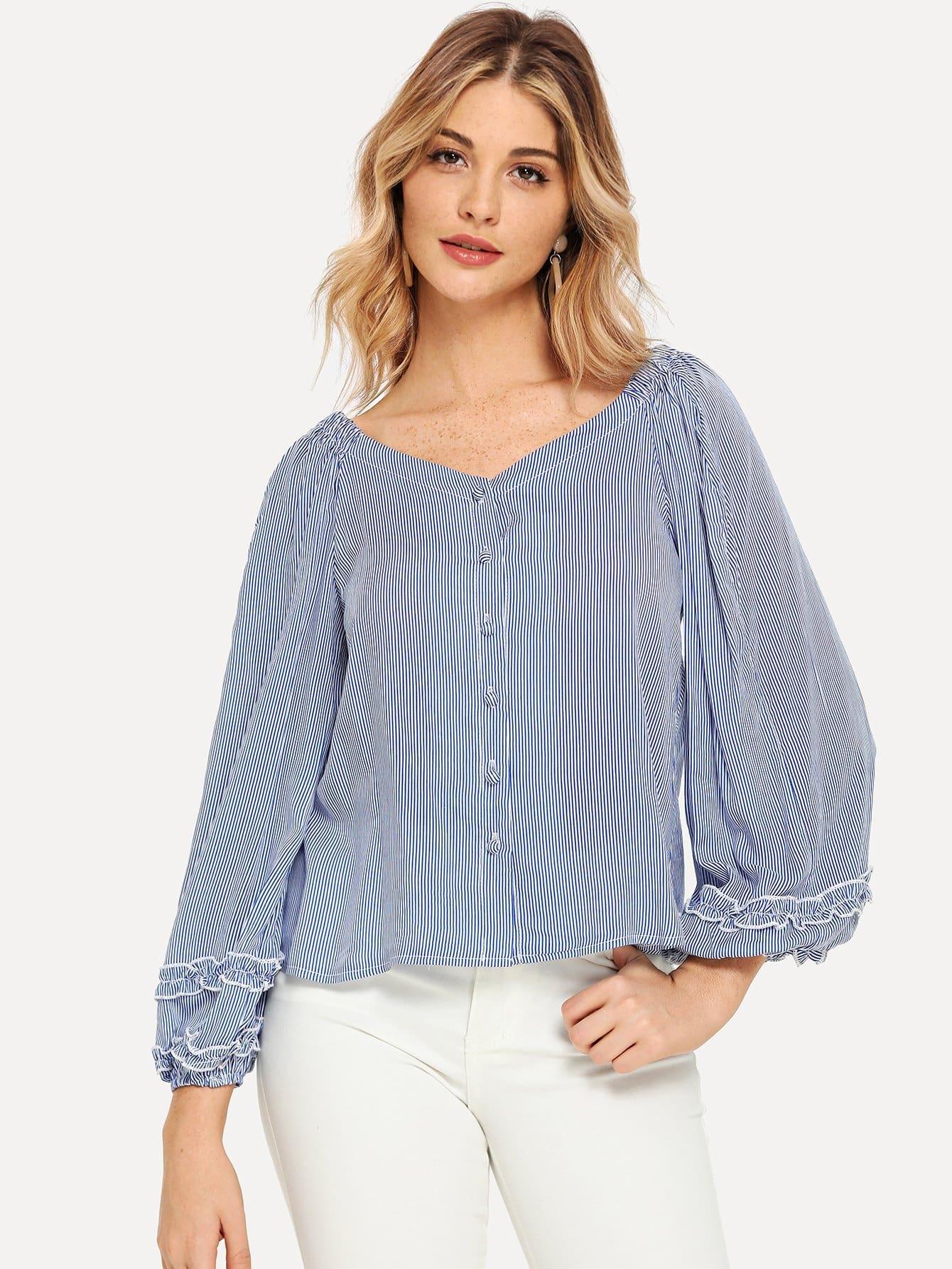 Купить Полосатая блузка на пуговицах с отделкой рюшами, Nathane, SheIn